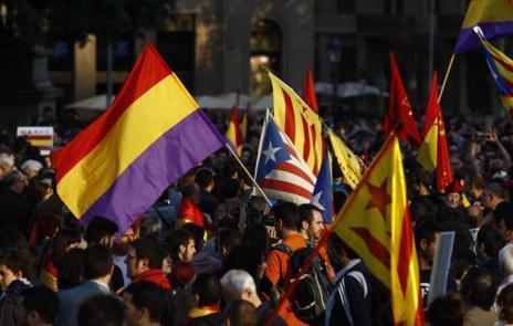 Imagen de la protesta en Barcelona.