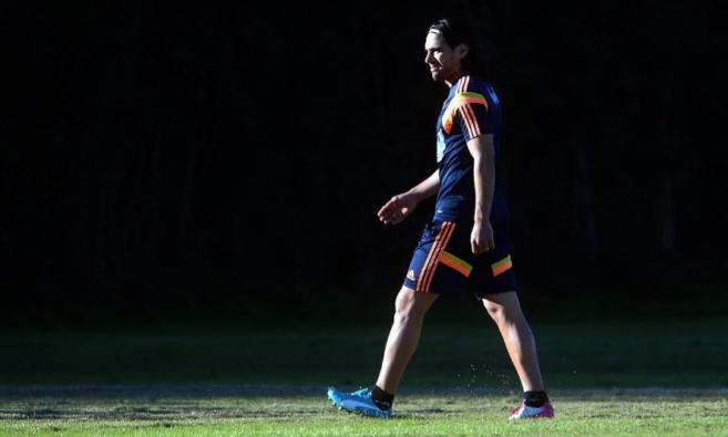 Radamel Falcao, durante un entrenamiento con Colombia.