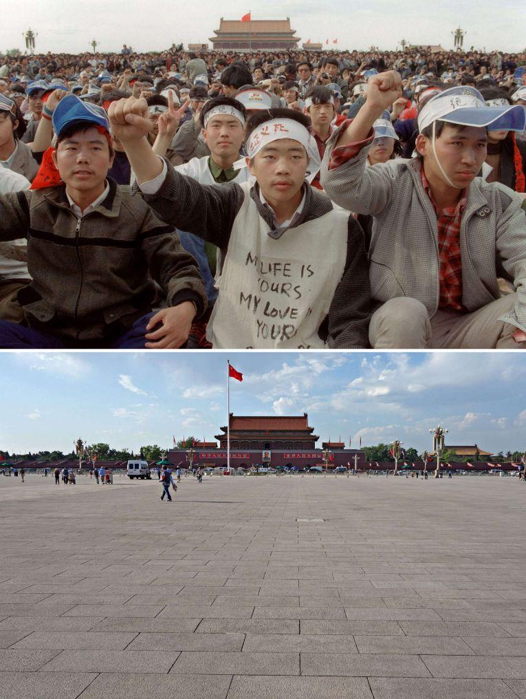 Un grupo de estudiantes durante una de las protestas pacíficas. Abajo, su aspecto actual.