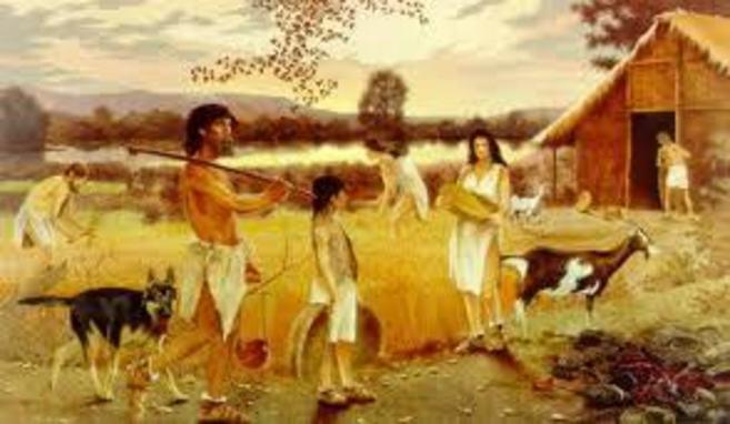 Representación pictórica de la vida en el Neolítico.