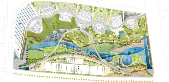 Primer plano del proyecto que debía convertirse en la Ciudad de las...