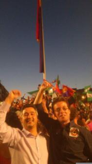 Foto que el delegado de Fomento de la Junta, Manuel Morales(der.),...