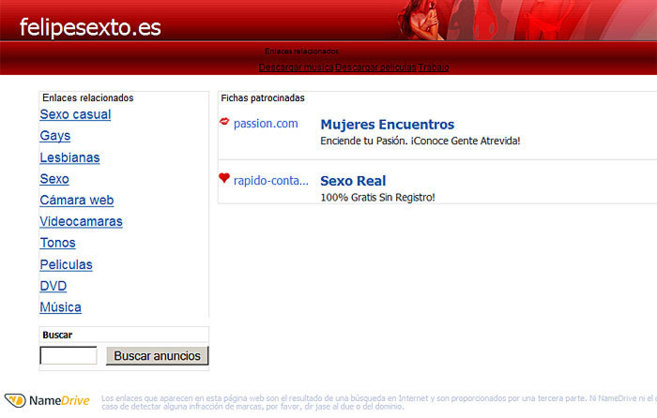 Pantalla de 'Felipesexto.es' antes de ser desactivada.