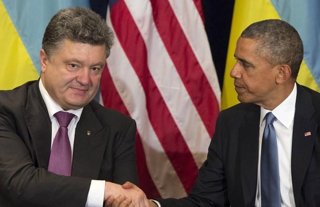 Barack Obama con el presidente electo de Ucrania, Petro Poroshenko...