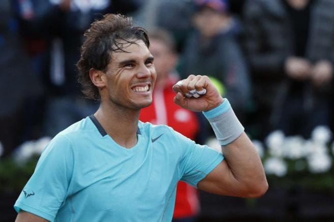 Rafa Nadal celebra su victoria sobre David Ferrer.