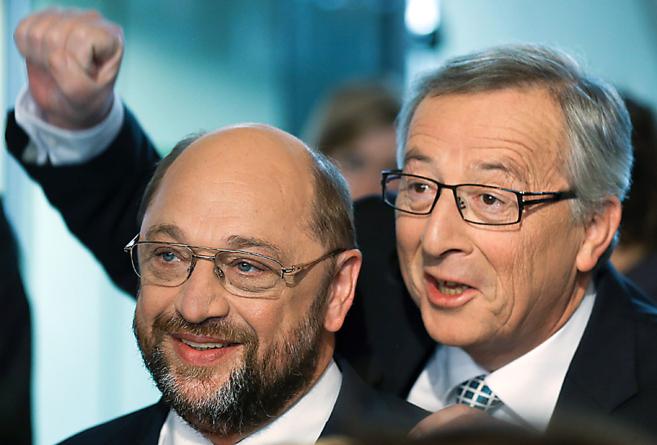 Los candidatos a presidir la Comisión Europea, Schulz (PSE) y Juncker...