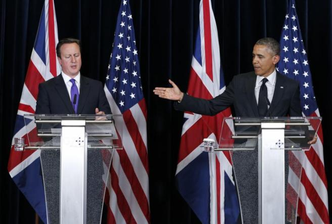 David Cameron y Barack Omaba, en la rueda de prensa conjunta de este...