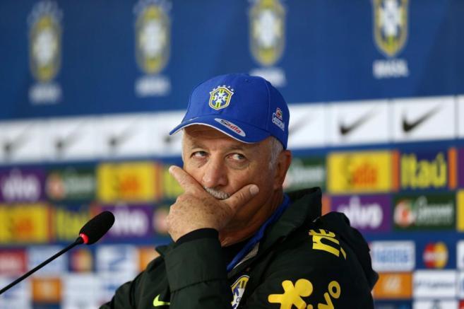 Luiz Filipe Scolari, durante la rueda de prensa de Brasil.