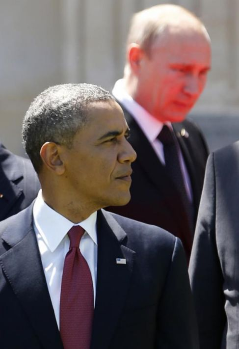 Obama y Putin durante la conmemoración del 70º aniversario del...