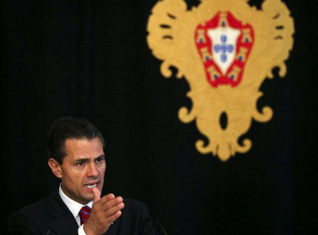 Peña Nieto, durante la rueda de prensa con su homólogo portugués en...