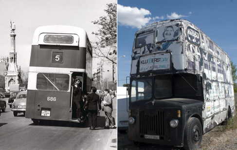 El Leyland en los 50, circulando por Madrid (izquierda), y ahora...