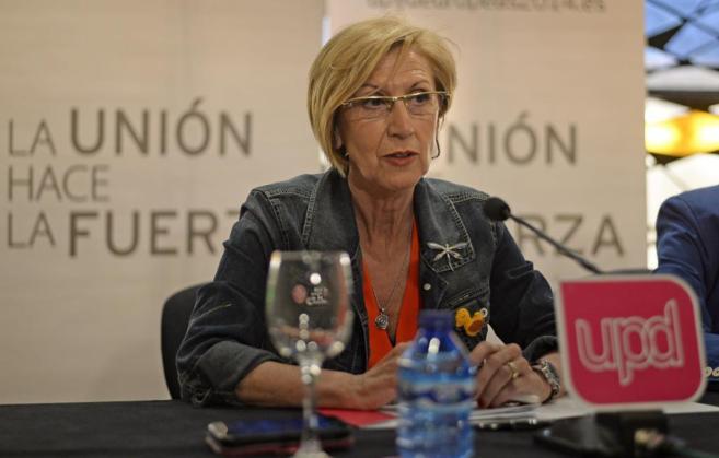 La portavoz de UPyD, Rosa Díez, durante su conferencia de prensa.