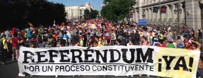 Cabecera de la manifestación republicana en Madrid.