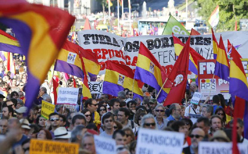 Cabecera de la manifestación en Madrid a favor de la república a su...