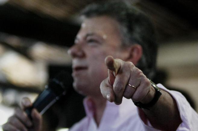 El presidente de Colombia y candidato a la reelección, en un mitin en...