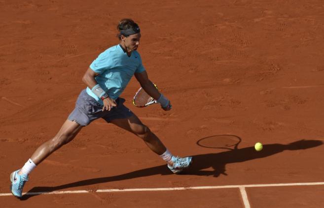 Rafael Nadal en pleno partido.