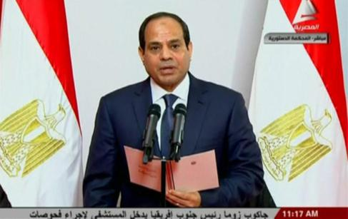 Al Sisi se dirige a la nación, durante su toma de posesión en El...