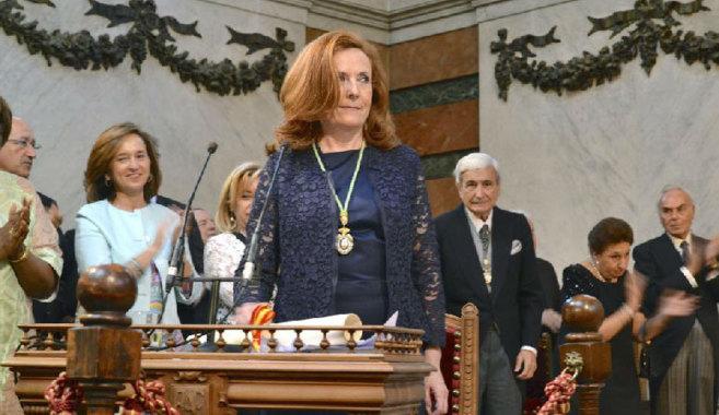 La catedrática, durante su discurso de ingreso en la Real Academia...
