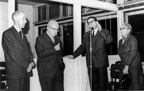Gerardo Diego, Dámaso Alonso, Julio Calonge y María Moliner.