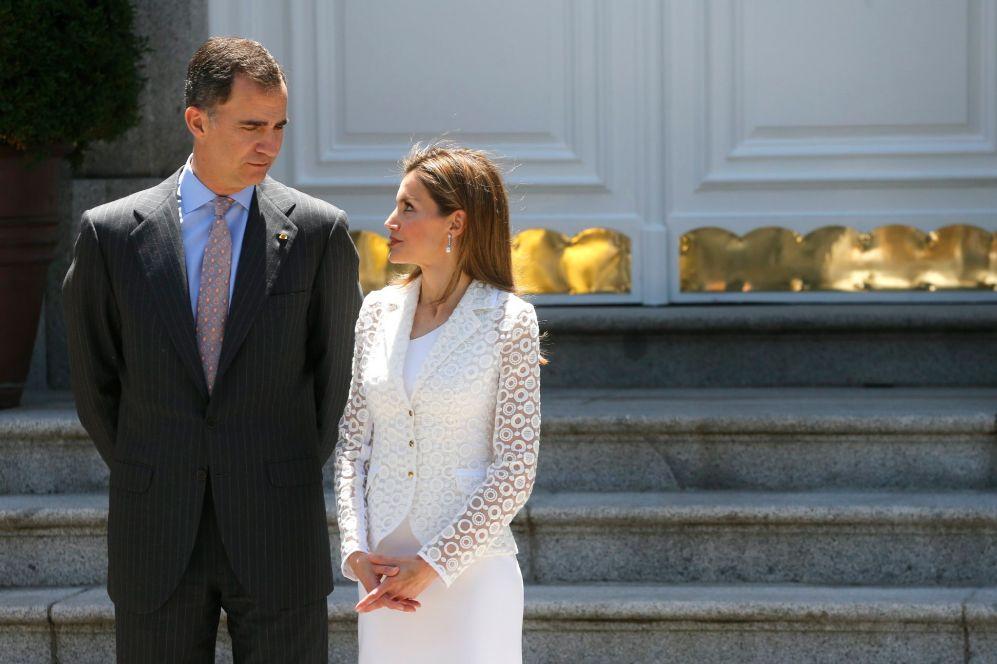 Los Príncipes de Asturias, este lunes en el Palacio de la Zarzuela a...
