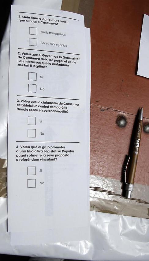Cuatro de las preguntas planteadas en el multireferéndum.