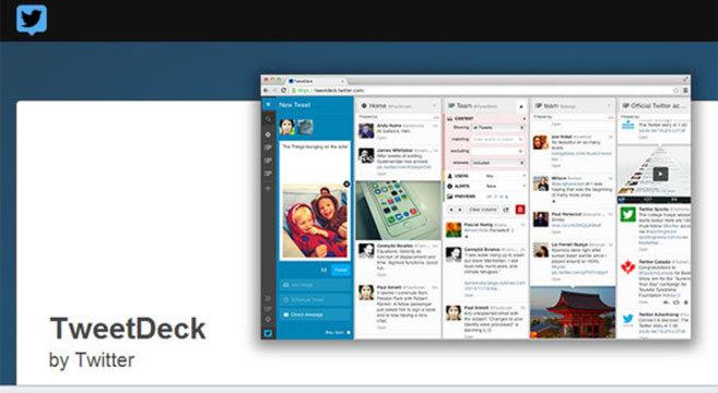 Página de inicio de TweetDeck en Chrome.