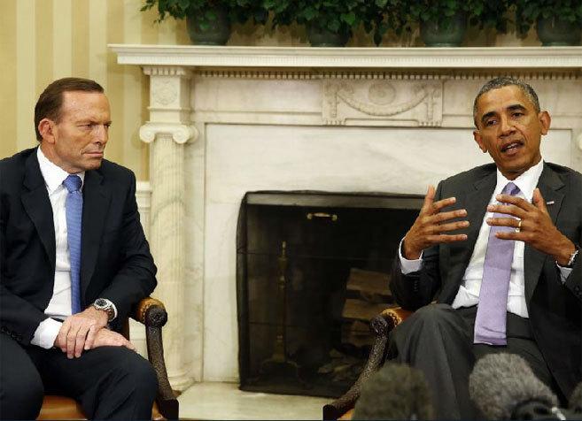 El presidente de EEUU, junto a su homólogo australiano, en su...