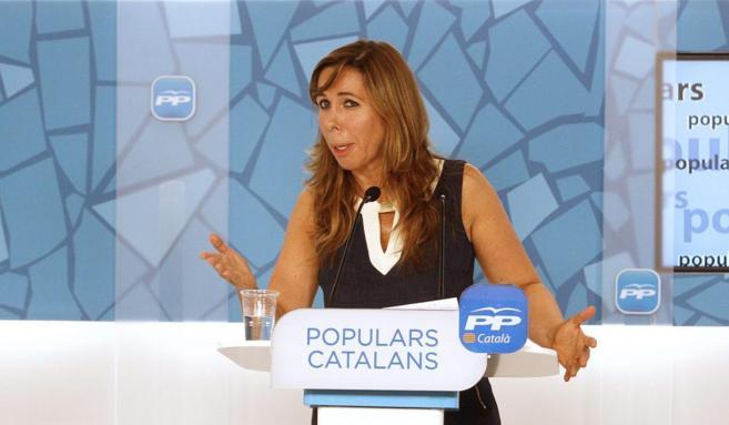 Alicia Sánchez Camacho, en la sede del PP.