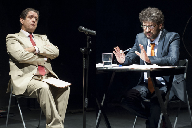 Pedro Casablanc frente a Manolo Solo, en un momento del montaje.