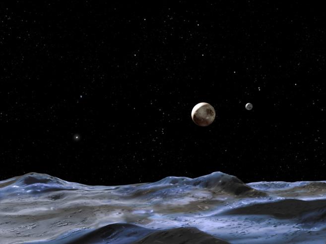 Recreación de Plutón (izquierda) junto a 'Charon'...