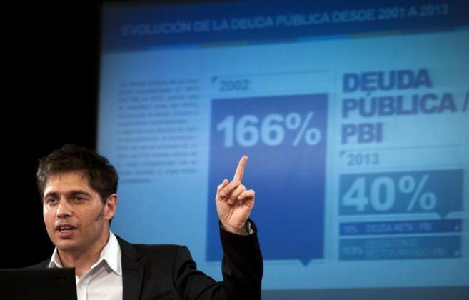 El ministro argentino de Economía, Axel Kicillof, durante la rueda de...