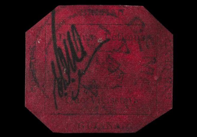 """El sello """"Magenta de un penique de Guayana Británica"""""""