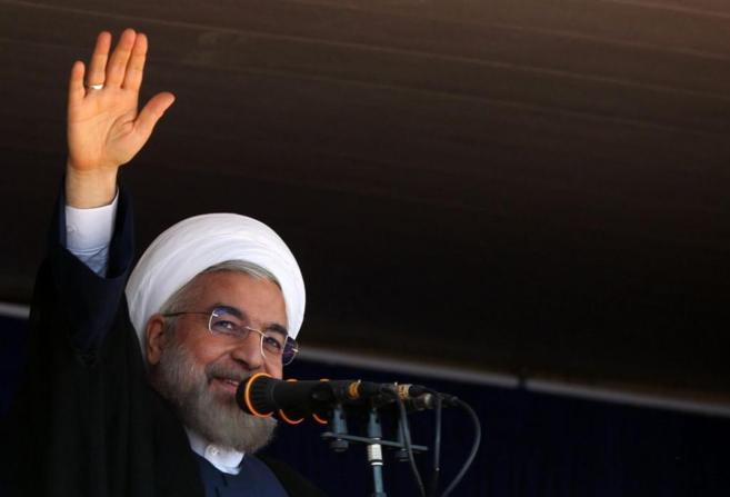 Hasan Rohaní, el presidente de Irán, hablando en la provincia de...