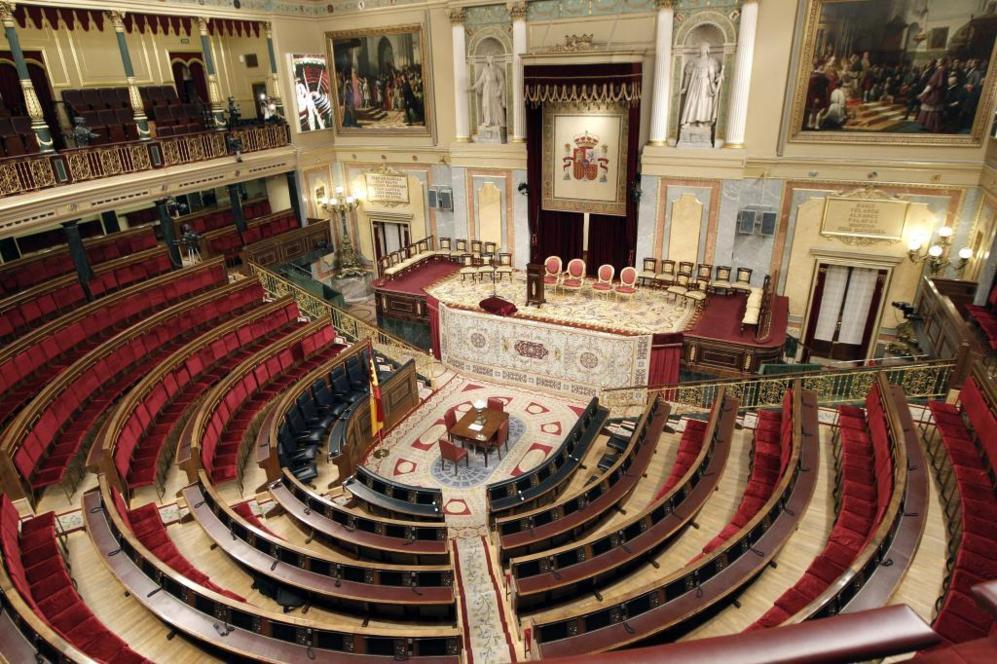 En la imagen, una vista general del Congreso de los Diputados en el...