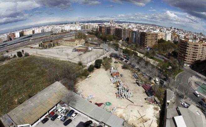Zona donde se ubicará el Parque Central de Valencia.