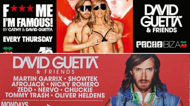 Cartes de las sesiones de David Guetta. Arriba, con su mujer, y abajo,...