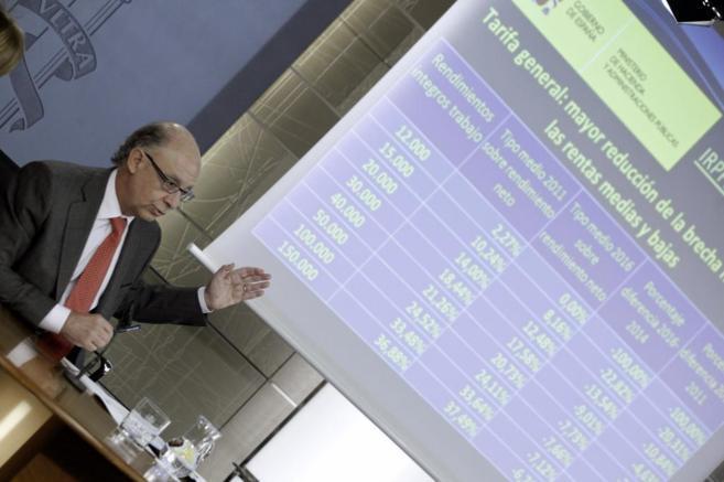 Montoro, durante la presentación de la reforma fiscal.