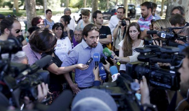 Pablo Iglesias, líder de Podemos, en la facultad de Filosofía de la...
