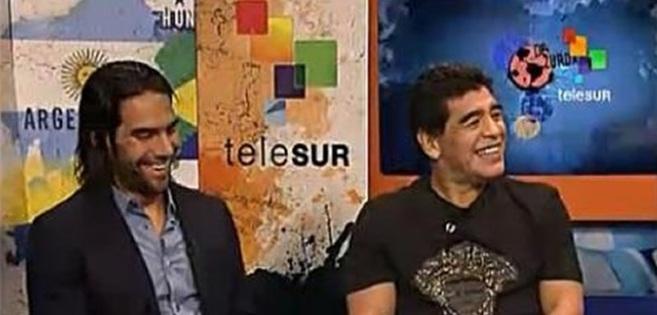 Maradona junto a Falcao en el programa 'De Zurda' de la...