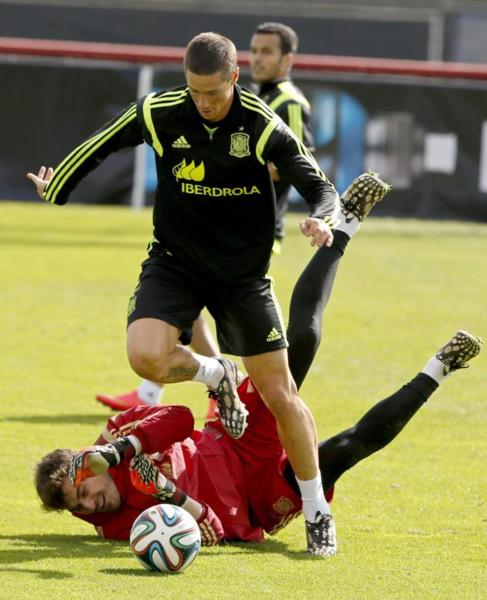 Casillas y Torres, durante el último entrenamiento.