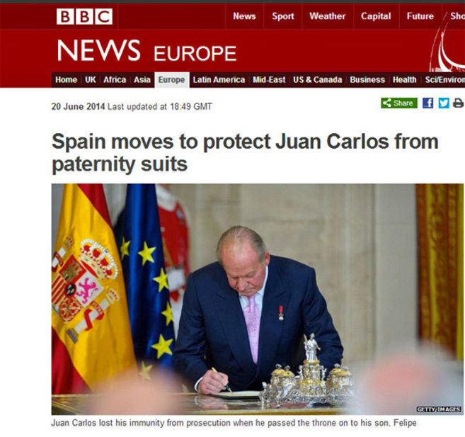 Captura de la noticia de la BBC sobre el aforamiento del Rey Juan...