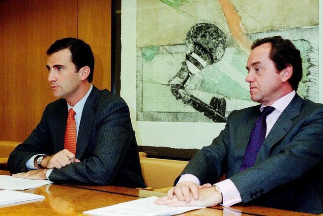 Jaime Alfonsín, con el entonces Príncipe de Asturias en un viaje a...