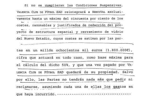 Fragmentio del contrato firmado entre el Valencia y la sociedad...