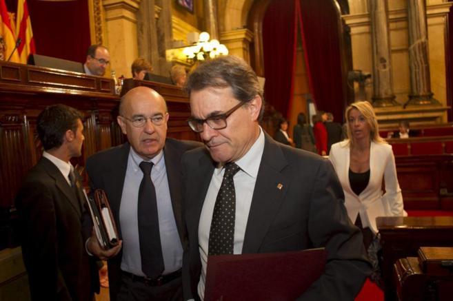 El conseller Boi Ruiz con el president Artur Mas