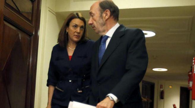 Alfredo Pérez Rubalcaba y Soraya Rodríguez, durante la sesión de...