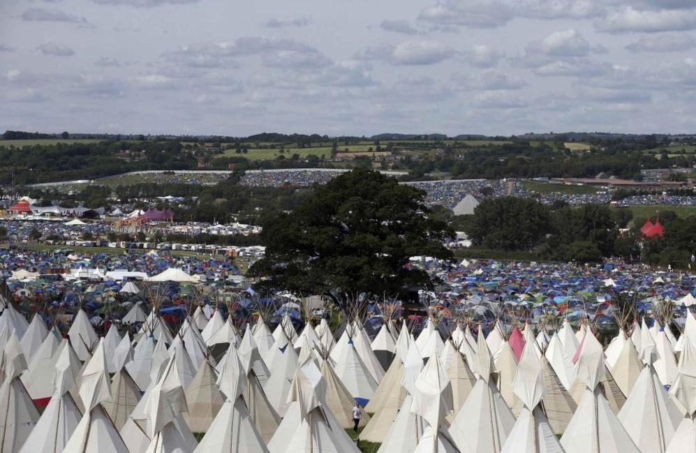 Vista general de la zona de acampada del Grastonbury.