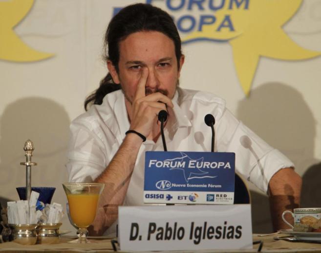 Pablo Iglesias, en un desayuno informativo el pasado lunes.