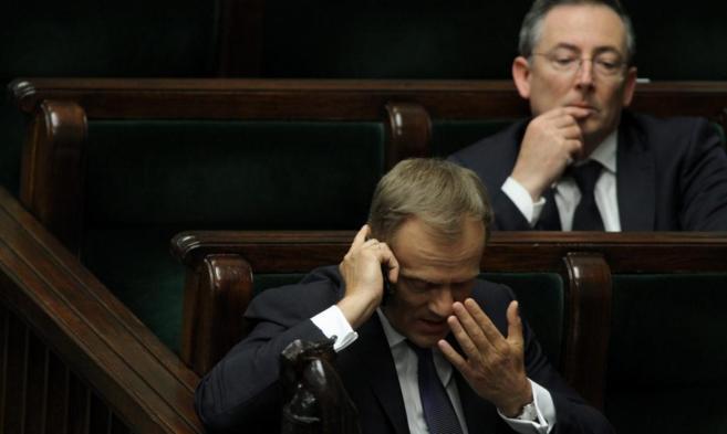 El primer ministro Tusk, en la sesión parlamentaria de ayer, en...