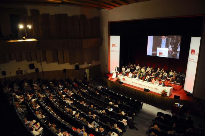Imagen de la Asamblea General de la SGAE, este jueves en Madrid.
