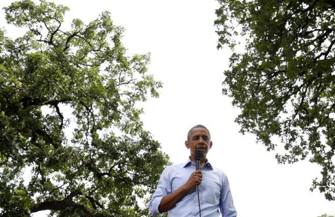 Barack Obama, durante una reunión en el Minnehaha Park de...